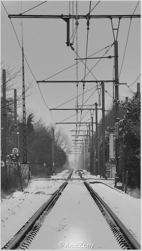 winter,Puurs,landschap,spoorweg