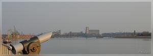 Antwerpen,'t Steen,wandelterras,Schelde,roze lucht
