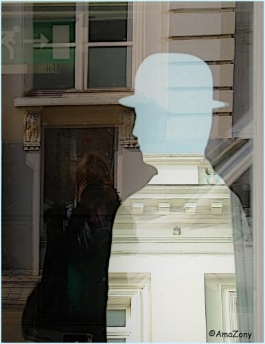 Doel,poster,vrouw,man,Brussel,fotografie,glasraam,muurbloem