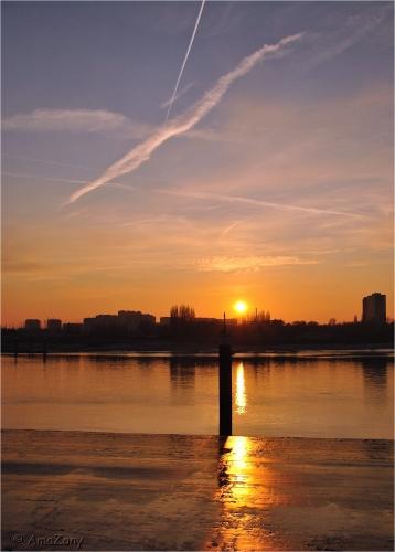 Antwerpen,Schelde,zonsondergang