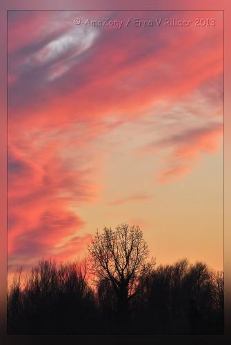 zonsondergang,winter,paars,violet,rood,kleuren,Puurs,maart